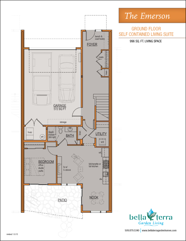 The emerson first floor self contained living suite floor plan for Self contained house plans