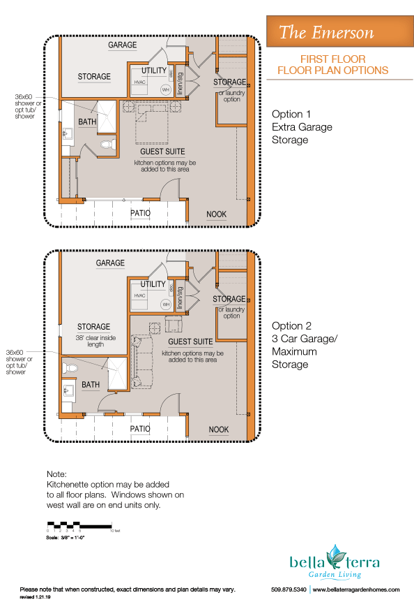 Emerson townhome first floor plan guest suite/private bedroom options.