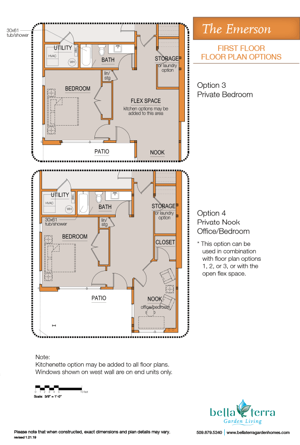 Emerson townhome first floor plan guest suite options extra garage storage.