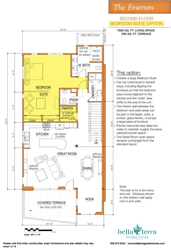 Emerson townhouse main floor bedroom suite option