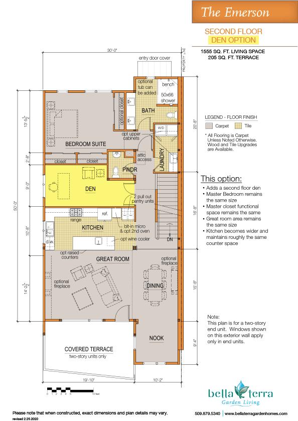 Emerson townhouse main floor den option